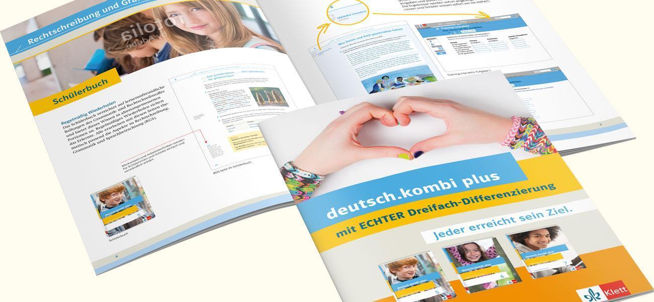 Produktbroschüre deutsch.kombi plus Umschlag und Innenlayout