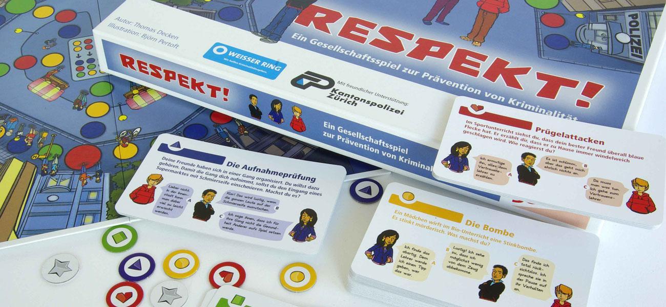 Gesellschaftsspiel RESPEKT! mit Stülpschachtel, Spielbrett, Spielkarten und Spielchips