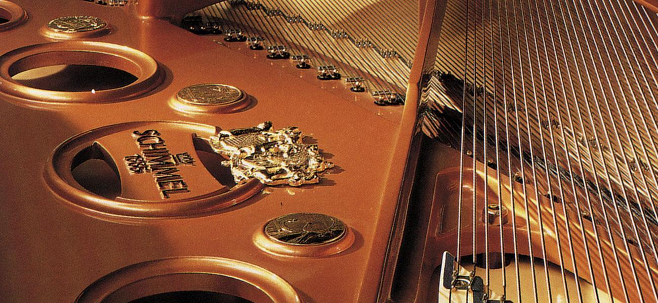 Industrial Design Nahaufnahme eines Gussrahmens eines Konzertflügels